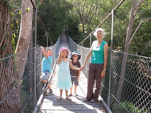 Suspension bridge leads to bush walk